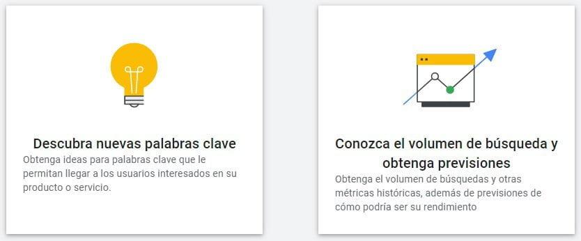 Opciones principales de Google Keyword Planner