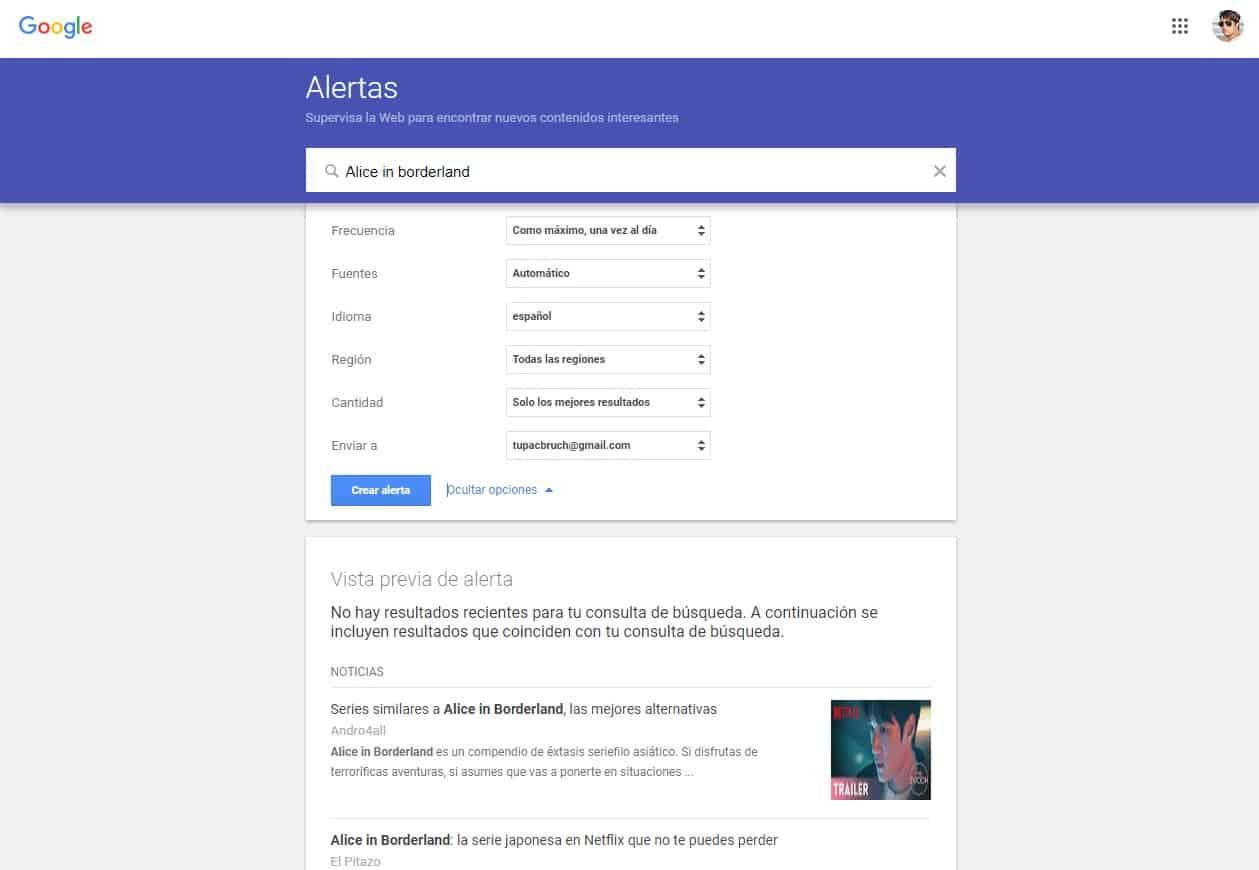 Alertas en Google Alerts Tupac Bruch