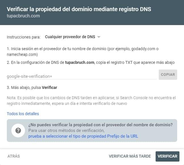 Registro de DNS en Google Search Console