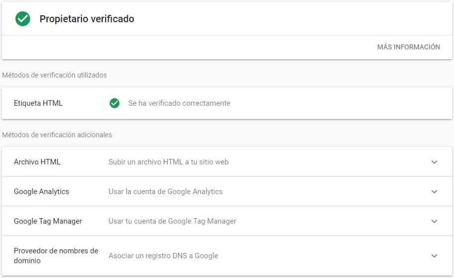 Perfil verificado Google Search Console