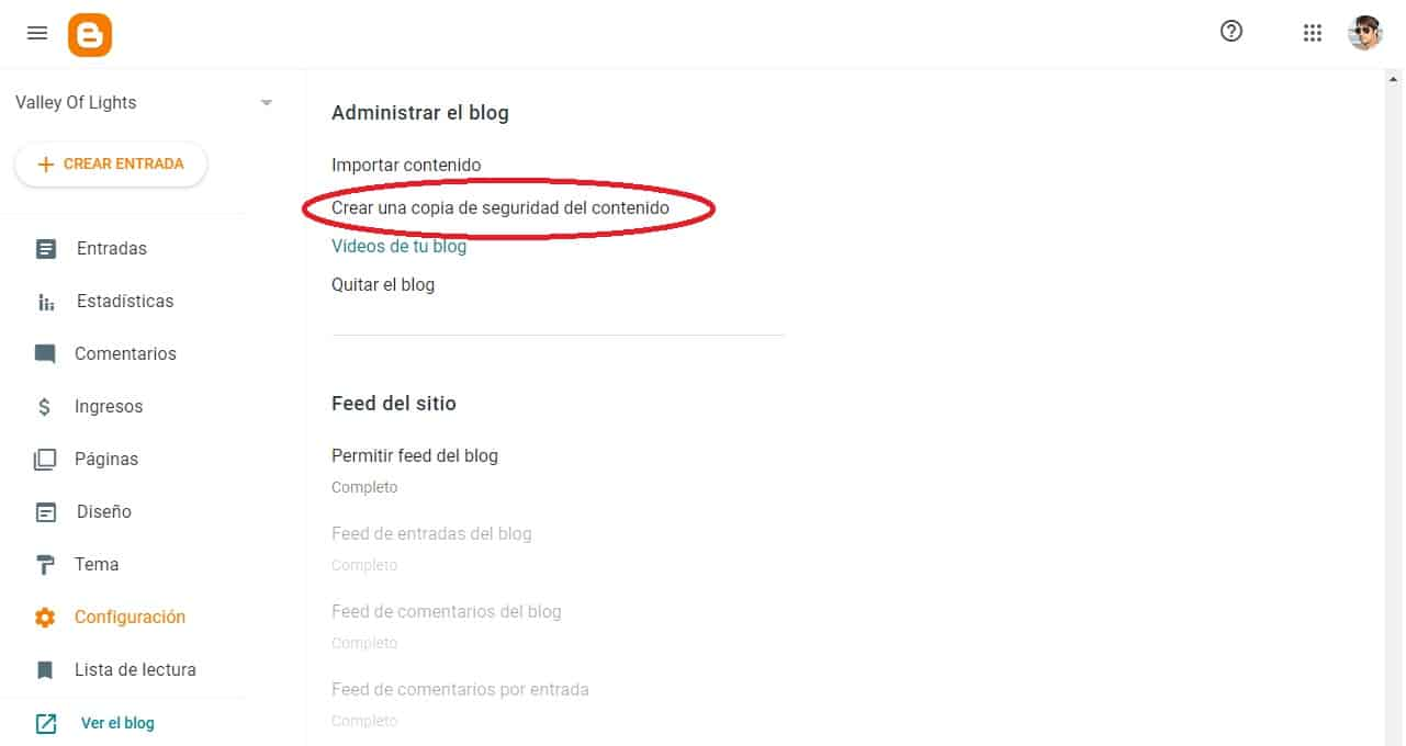 Feed del Blogger