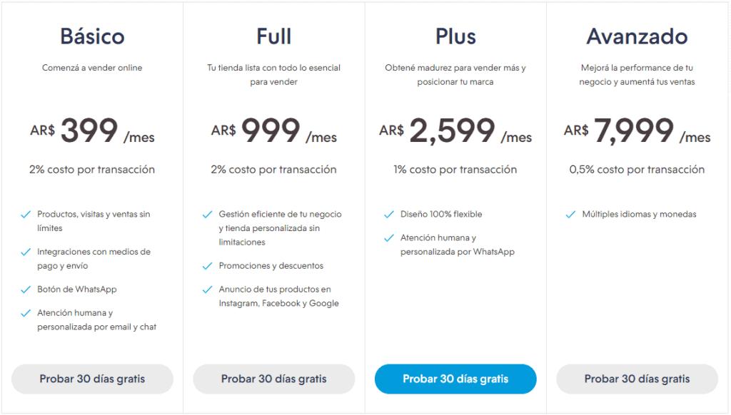 Planes que ofrece tiendanube.com